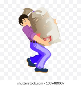 worker carries a heavy bag