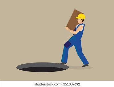 Worker carrying a box walking right into a exposed manhole on the ground in front of him. Vector illustration for workplace hazards concept isolated on plain background.