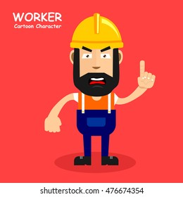 Worker cartoon character in any style of expression. Vector illustration eps.10