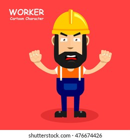 Worker cartoon character with expression of angry. Vector illustration eps.10