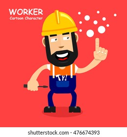 Worker cartoon character in laugh expression. Vector illustration eps.10