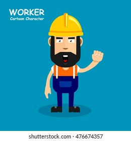 Worker cartoon character in shocked expression. Vector illustration eps.10