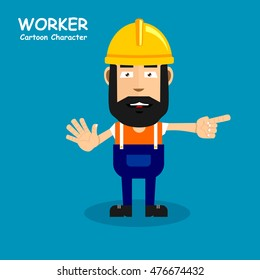 Worker cartoon character in smiling expression. Vector illustration eps.10