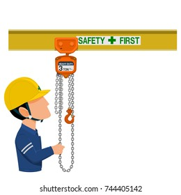 A worker with the  the chain hoist on transparent background