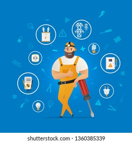 Worker Character with Electrical Equipment Device. Smiling Man in Uniform Leaning on Big Screwdriver, Showing Thumbs Up Sign. Electrician Service Handyman. Flat Cartoon Vector Illustration