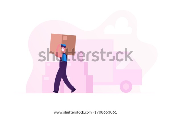 Worker Character in Medical Mask Carry Cardboard Box on Unloading Truck. Relocation and Moving into New House during Covid19 Pandemic. Delivery Company Loader Service. Cartoon Vector Illustration