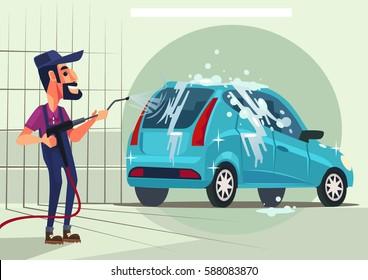 Worker character washing car. Vector flat cartoon illustration