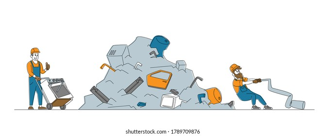 Worker Characters Pulling Old Washing Machine on Manual Forklift Cart to Scrapmetal Dump. Metallic Junk Reuse, Recycling Industry, Scrap Metal Pollution, Manufacture. Linear People Vector Illustration