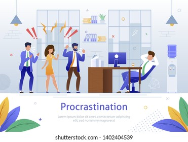 Worker Characters Screaming at Sleeping Worker Banner Vector Illustration. Cartoon Person Procrastinating at Workplace. Angry and Annoyed Businessmen at Work in Office. Relaxing Man.