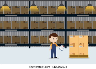 worker checking stock in warehouse inventory with copy space eps10 vector illustration
