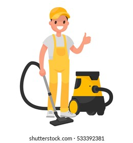 Worker of  cleaning service. A man dressed in a uniform with a vacuum cleaner. Vector illustration in a flat style