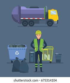 Worker collect garbage in a garbage recycling truck to take him out of the city. Cleaning city. Household waste, recycling of industrial waste. Vector Illustration isolated in cartoon style.