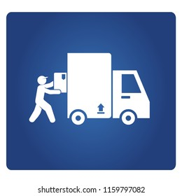 worker conveying, lifting a box in to truck for delivery concept