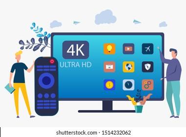 Worker demonstrates modern ultra HD smart TV. UHD Smart TV, Ultra High Resolution, 4K 8K Display Technology Concept. colorful vector illustration