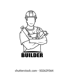 worker drawing vector logo icon clipart png wallpaper silhouette