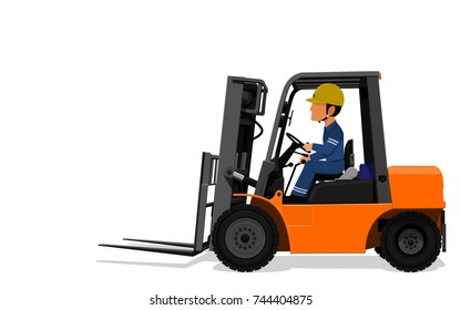 A Worker is driving  Forklift truck on transparent background