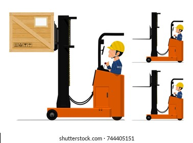 A worker is driving the loader machine on transparent background