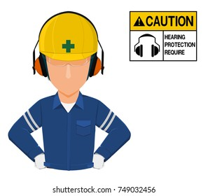 A worker with earmuffs on transparent background