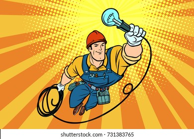 worker electrician light bulb flying superhero