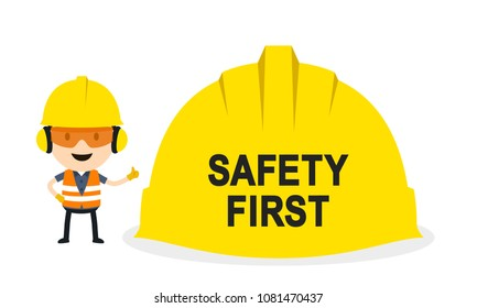 The worker is emphasizing safety first, Vector illustration, Safety and accident, Industrial safety cartoon