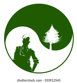 Worker and environment. Logo for Ecology concept