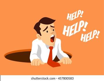 Worker fell into hole.  Man character need help. Vector flat cartoon illustration