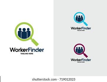 Worker Finder Logo Template Design Vector, Emblem, Design Concept, Creative Symbol, Icon