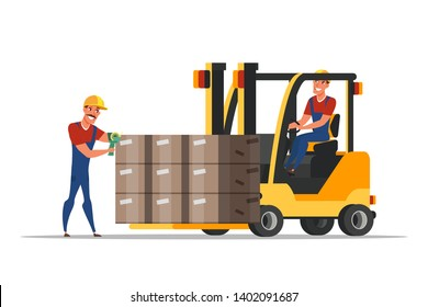 Worker in forklifter tractor cartoon character. Handymen loading cardboard boxes. Storehouse employee using forklifter professional equipment. Distribution, logistics, shipment isolated clipart