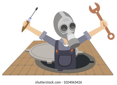 Worker in the gas mask with a spanner and screwdriver in the hands appears out from the sewer manhole illustration vector