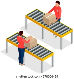 Worker goods packaging with boxes at packing line in factory. Workers In Warehouse Preparing Goods For Dispatch.  Flat 3d isometric vector illustration.