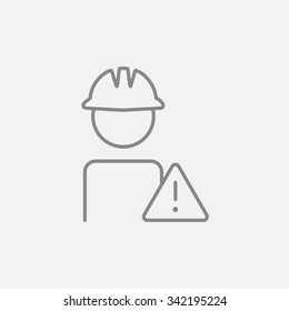 Worker in hard hat with caution sign line icon for web, mobile and infographics. Vector dark grey icon isolated on light grey background.