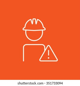 Worker in hard hat with caution sign line icon for web, mobile and infographics. Vector white icon isolated on red background.