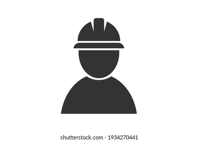 Worker in a helmet. Simple icon set. Flat style element for graphic design. Vector EPS10 illustration