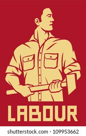 worker holding a hammer (poster for labor day)