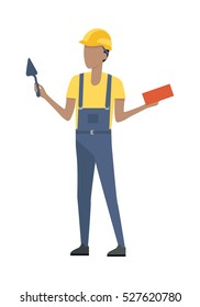 Worker holding metal trowel and rectangular red brick isolated on white. Man in blue robe and yellow helmet, t-shirt. Cartoon style. Builder constructor. Housebuilder. Flat design. Vector illustration