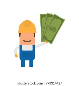 Worker holding money, vector illustration design. Construction characters collection.