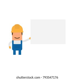 Worker holding a white banner, vector illustration design. Construction characters collection.