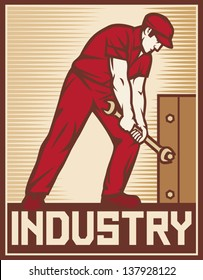 worker holding wrench - industry poster (design for labor day)