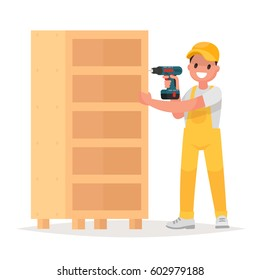 Worker holds a screw gun in his hand. Man is repairing the furniture. Vector illustration in a flat style