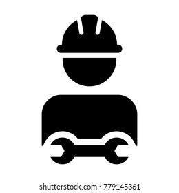 Worker Icon Vector Male Service Person Profile Avatar with Wrench Tool For Factory Maintenance and Mechanical Work with Hard Hat in Glyph Pictogram Symbol illustration