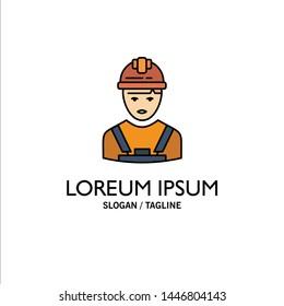 Worker, Industry, Avatar, Engineer, Supervisor Business Logo Template. Flat Color