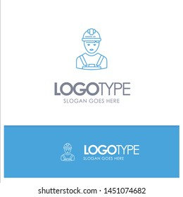 Worker, Industry, Avatar, Engineer, Supervisor Blue outLine Logo with place for tagline
