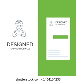 Worker, Industry, Avatar, Engineer, Supervisor Grey Logo Design and Business Card Template. Vector Icon Template background