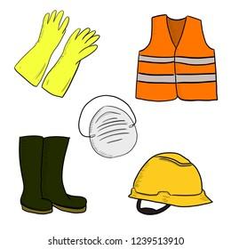 Worker job safety equipment illustration.  Industries protector element masker, boots, hardhat, orange vest, gloves.