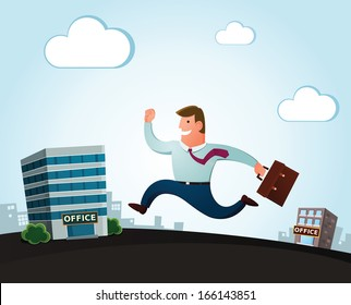 worker jumping and smiling happily, moving to the new office for a better job