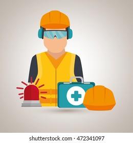 worker kit aid, helmet icon vector illustration design