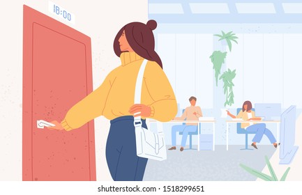 Worker leaving work on time flat vector illustration. Woman character opening door. Girl at office going to interview, appointment in time. Female employee finishing working day concept.