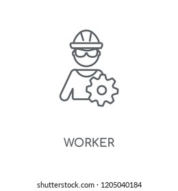 Worker linear icon. Worker concept stroke symbol design. Thin graphic elements vector illustration, outline pattern on a white background, eps 10.