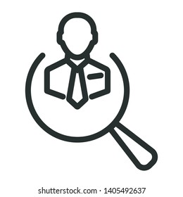worker in magnifier - minimal line web icon. simple vector illustration. concept for infographic, website or app.