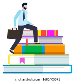 Worker man going up by colorful books. Person in suit holding handbag and standing on education symbol. Employee character learning with notebooks. Businessman on library construction vector